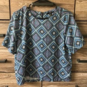 Forever 21 Blue Patterned Blouse